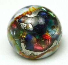 Antique Leo Popper Glass Button Colorful Dome Design