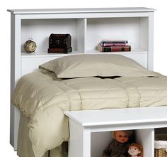 Largest Kids Headboards and Storage collection: The two compartments of this deep bookcase style Twin Bookcase Headboard in White - Prepac Furniture provide ample space for bedside reading ma Bookcase Headboard, White Headboard, White Bedding, Bed Frame Plans, Bed With Drawers, Bed Storage, Storage Headboard, Headboards For Beds, Yurts