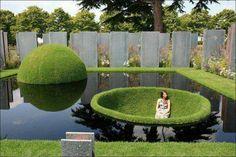 Modern garden pond.