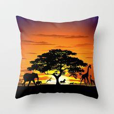 Wild Animals on African Savannah Sunset  Throw Pillow by Bluedarkat Lem - $20.00