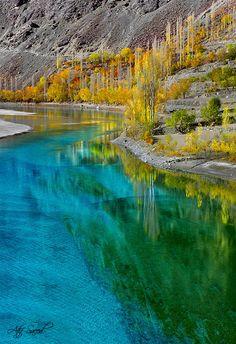 khalti lake, pakistan. look at those colors!