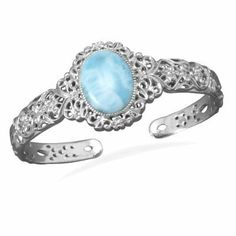 Larimar Cuff Bracelet Blue Atlantis Stone Filigree Sterling Silver AzureBella Jewelry. $294.23. Coordinating earrings and ring available. .925 sterling silver. Jewelry gift box included. 15.5x20.3mm stone size. Genuine, rare larimar gemstone