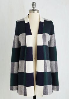 Simply Snuggly Cardigan in Forest by ModCloth - Green, Plaid, Print, Casual, Long Sleeve, Knit, Better, Exclusives, Long, Variation