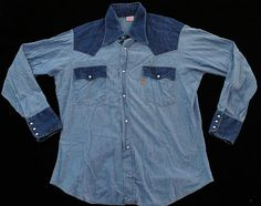 Vintage Orange Tag Levis Two Tone Western Shirt Chambray Large