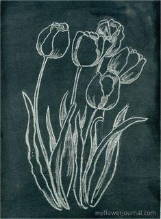 How to do Anthropologie inspired flower chalkboard art: myflowerjournal