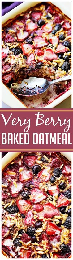 Very Berry Baked Oatmeal - Perfect for Easter Brunch! Nutritious and delicious baked oatmeal chock full of irresistible juicy berries and toasted nuts. Make it ahead and reheat portions as needed. Healthy Brunch, Healthy Breakfast Recipes, Clean Eating Recipes, Brunch Recipes, Healthy Eating, Cooking Recipes, Brunch Ideas, Healthy Breakfasts, Brunch Bar