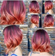 71 most popular ideas for blonde ombre hair color - Hairstyles Trends Peach Hair, Pink Hair, Gold Hair Colors, Corte Y Color, Rainbow Hair, Ombre Hair, Pretty Hairstyles, Dyed Hair, Hair Inspiration