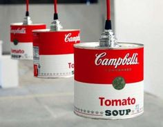 Brilliant - upcycled soup tins into lamp shades
