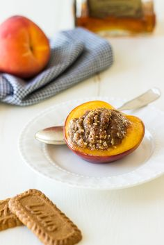 These Almond and Biscoff Cookie Stuffed Peaches with Amaretto are the perfect summer peach treat!