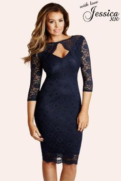 Blue Jessica Wright Lace Keyhole Dress