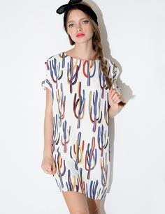 Cactus Print Dress - Printed Silky Dress -