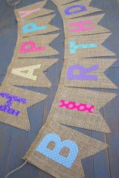Reusable Happy Birthday Rainbow Pink Purple Coral Blue Yellow Teal Fabric Letters on Burlap for First Birthday Party or Birthday Photo Prop by MsRogersNeighborhood Etsy shop (Diy Photo Letters) First Birthday Party Decorations, Diy Birthday Banner, Diy Banner, Happy Birthday Banners, First Birthday Parties, First Birthdays, Party Themes, Birthday Month, Cake Birthday