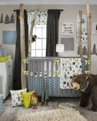 North Country Baby Bedding Set by Glenna Jean features lovable honey bears and cute wildlife motif.  Baby boys room.