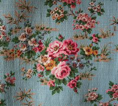 vintage 1940s cotton barkcloth pale blue with pink rose clusters