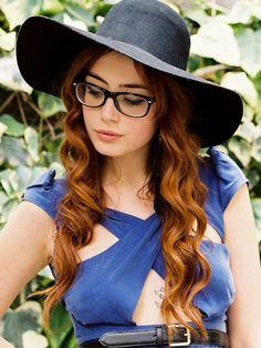 Girl With Glasses Long Auburn Hair & Hat