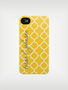Personalized iPhone 5 Case 4 / 4S or 3G or Samsung - Yellow Quatrefoil - Custom Designed Cover - original design by a drop of golden sun. $39.99, via Etsy.