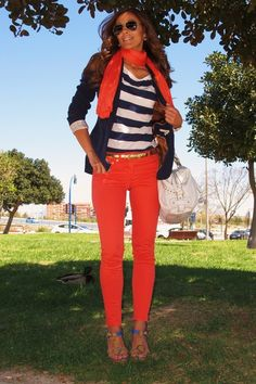 Orange jeans navy blazer and navy striped shirt fun Summer Outfits, Casual Outfits, Cute Outfits, Work Outfits, Look Fashion, Fashion Outfits, Look Chic, Looks Style, T 4