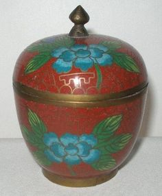 SMALL Gorgeous CLOISONNE BOX or JAR with TOP Vibrant DESIGNS Perfect for JEWELRY