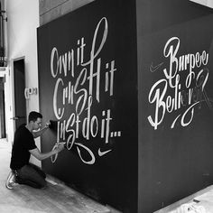 Chalk Murals In A Nike Pop-Up Store That Is Filled With Energetic Typography - DesignTAXI.com