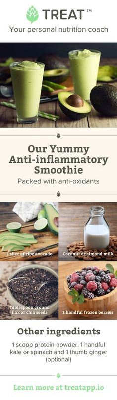This rich, creamy anti-inflammatory smoothie contains healthy fats and a good dose of antioxidant-rich greens and berries.