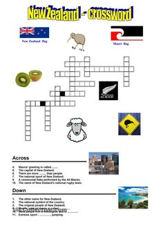 Interesting crossword about New Zealand. You can do it after reading the information about this country in my worksheet. The information about New Zealand you. Capital Of New Zealand, New Zealand Flag, Worksheets For Kids, Activities For Kids, Maori Art, Kiwiana, All Blacks, Home Learning, Fifth Grade