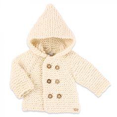Les tricots de mamy - Manteau bébé enfant gris chiné et marron en laine et alpaga - Mamy Factory