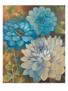 I love dahlias and can't believe I found a print of them to match the room.