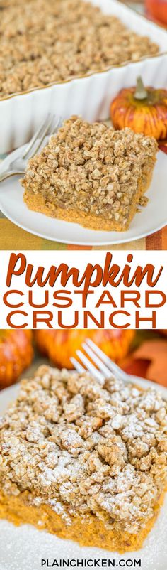 Pumpkin Custard Crunch - quick pumpkin custard topped with a crunchy granola topping. SO good! Great for holiday meals! Can make ahead of time and warm up when ready to serve. Top with powdered sugar, whipped cream or ice cream. Took this to a party and i