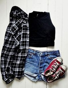summer casual outfit - denim shorts, converse, crop top, & plaid shirt by alejandra