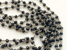Black Spinel Faceted Rondelle Beads in 925 Silver by gemsforjewels