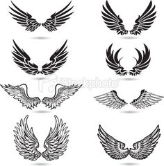 Wings Illustration royalty-free wings illustration stock vector art & more images of angel Surf Tattoos, Biker Tattoos, Body Art Tattoos, Sleeve Tattoos, Cool Tattoos, Tatoos, Tattoo Cou, Cross With Wings Tattoo, Wings Drawing