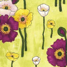 SALE $7/yd Michael Miller Vignette Gathered Poppies Lime CJ6658-LIME-D Modern Floral