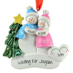 Expecting Parents Waiting For First Baby Ornament Snow Couple | Ornaments and More