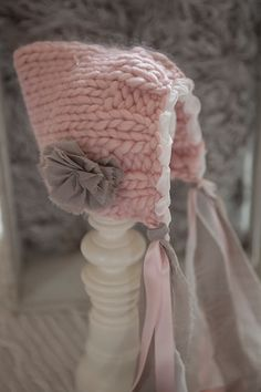 Sweet pink knit baby bonnet, newborn hat, newborn bonnet, pixie bonnet,made by pup and frank,newborn photography props