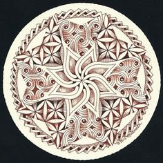 Enthusiastic Artist: Zendala in brown and sepia by Certified Zentangle Teacher Margaret Bremner