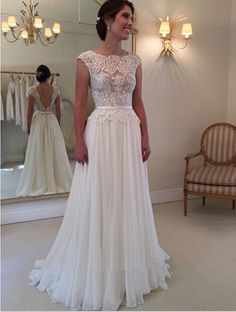 Free-Shipping-Elegant-Lace-Top-Chiffon-Wedding-Dresses-Floor-Length-Beach-Wedding-Dress-Simple-Sash-Bridal.jpg_640x640.jpg (484×640)