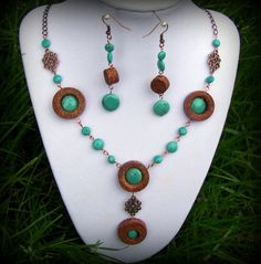 Upcycled wine cork and turquoise copper necklace and earrings set by UncorkedJewelry on Etsy, $38.00