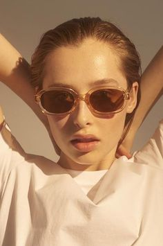 The Bob sunglass design features a rounded, slim rectangular shape in a soft and transparent champagne colour. The arms features a metal core. Lifestyle Store, Champagne Color, Nordic Design, Classic Looks, Cat Eye Sunglasses, Lenses, Women Wear, Bob, Temples