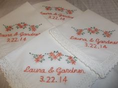 Wedding handkerchief bridal hanky  name by SheriAngellCreations