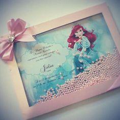 Convite lindo Ariel!!!! Recheado com pérolas!!!! #conviteprincesa #conviteAriel #pequenasereia #festafundodomar #festapequenasereia #cantodaarte