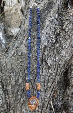 Hand made Olive Wood and lapis lazuli gemstone necklace, olive wood pendant with Tibetan silver tree of life