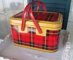 Vintage TIN Picnic Basket SKOTCH Red Plaid..... I have one just like this except it doesn't look new like this one!