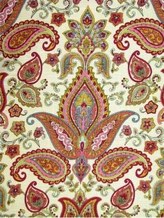 "Paisley transitional floral print fabric for drapery or light use upholstery. Linen rayon blend fabric. 18"" up the roll repeat. 54"" wide. Sale 9.95 54"""