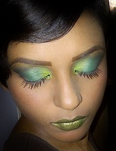 full face green makeup