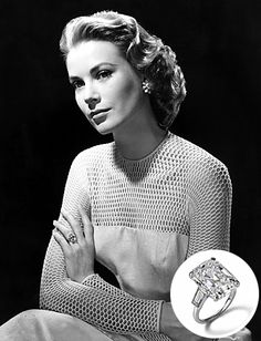 Royal Rocks: The Engagement Rings of Princess Brides | InStyle.com Prince Rainier III of Monaco originally proposed to #GraceKelly with a #Cartier eternity band of rubies and diamonds. When he saw other leading ladies in Hollywood were flashing bigger rings, he quickly ordered this 10.5-carat emerald-cut diamond flanked by two baguettes, also from Cartier.