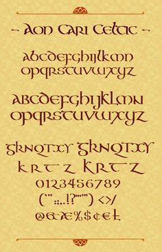 The Aon Celtic Art website features the artistic works of international artist Cari Buziak, including a gallery of works, free tutorials and clipart. Hand Lettering Fonts, Lettering Styles, Handwriting Fonts, Penmanship, Typography Fonts, Lettering Design, Celtic Fonts, Celtic Art, Gaelic Font