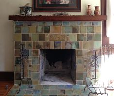Custom tile and tile design in the Craftsman tradition. Craftsman Tile, Craftsman Fireplace, Build A Fireplace, Craftsman Interior, Home Fireplace, Fireplaces, Fireplace Ideas, Craftsman Homes, Fireplace Fronts