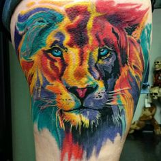Beautiful water color lion tattoo! Absolutely stunning