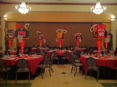 Miami Heat - Basketball Theme Bar Mitzvah Event Decor Red & Black Color Scheme Party Perfect Boca Raton, FL 1(561)994-8833