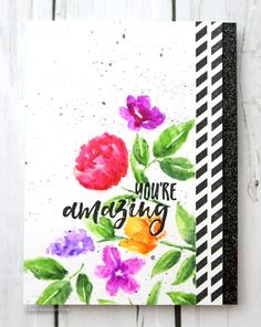 Stamped watercolor flowers Zig Clean Color real brush markers series with Kristina Werner!